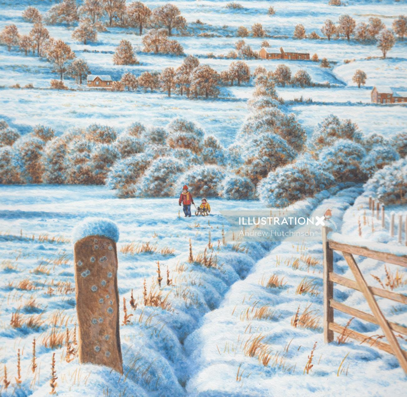 Yorkshire tea plantation covered with snow - An illustration by Andrew Hutchinson
