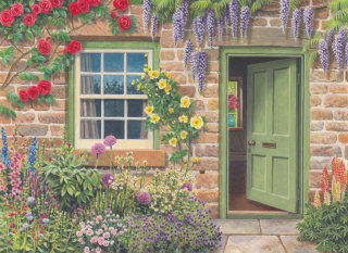 Cottage door with flowers and plants