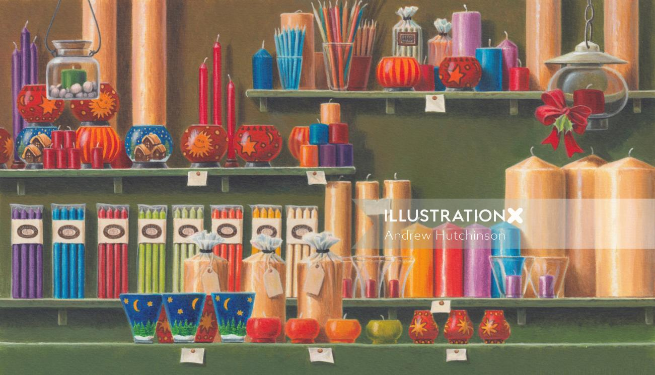 Illustration of German Christmas candle stall