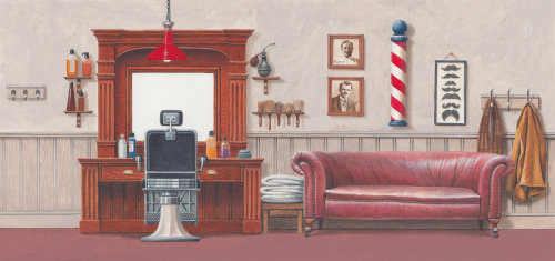Illustration of barbershop interior