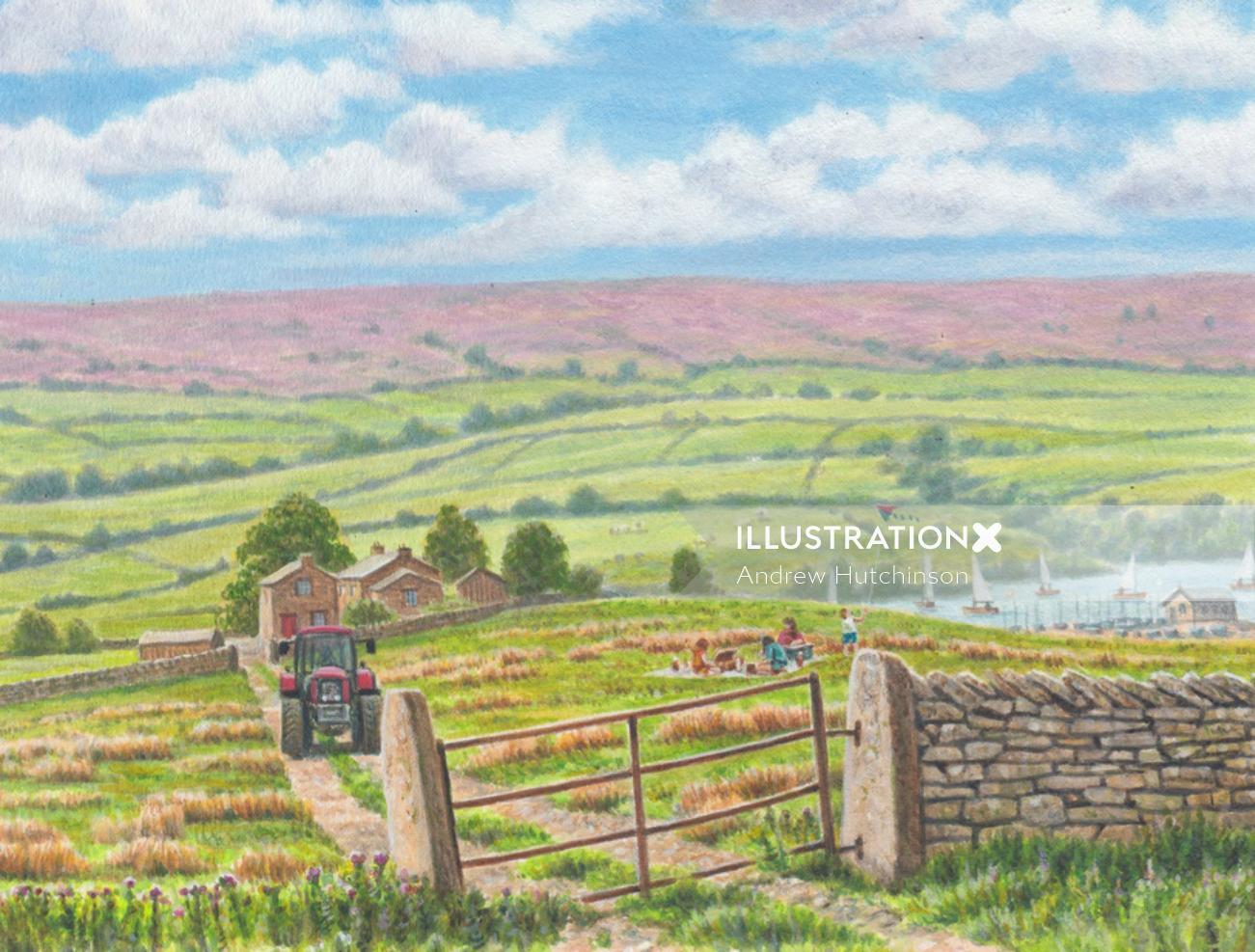 Landscape of Yorkshire tea fields