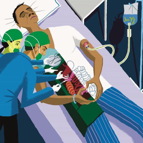 Coronavirus infected man in hospital