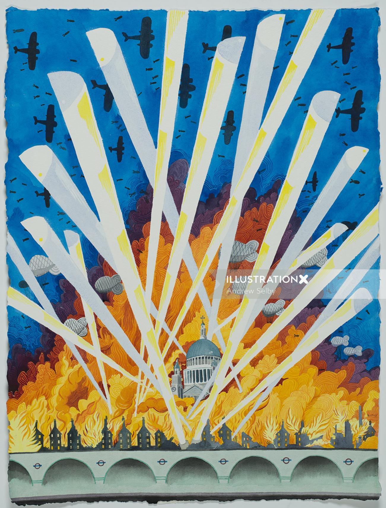 Aeroplanes bombing London city