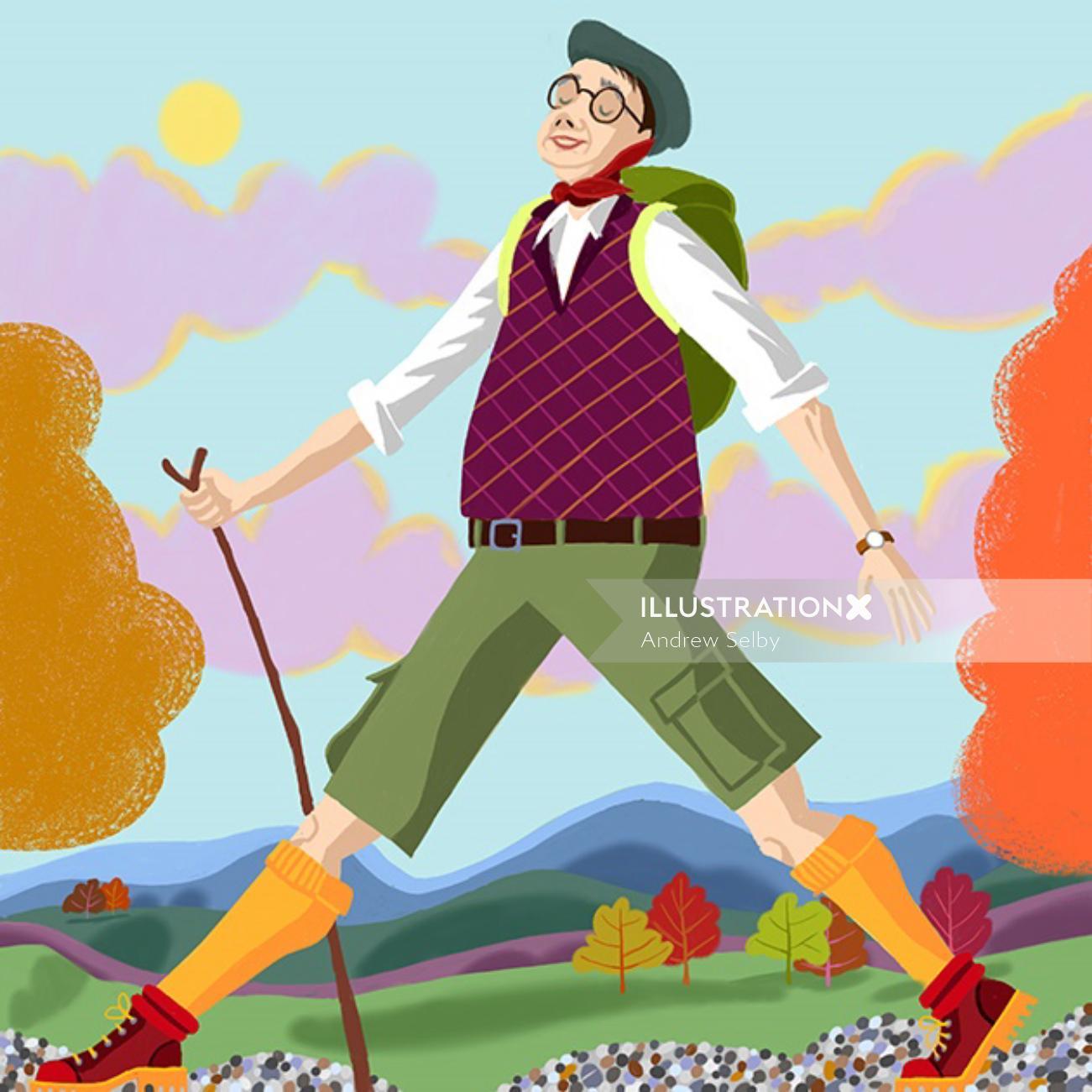 Hiker walking happily on road