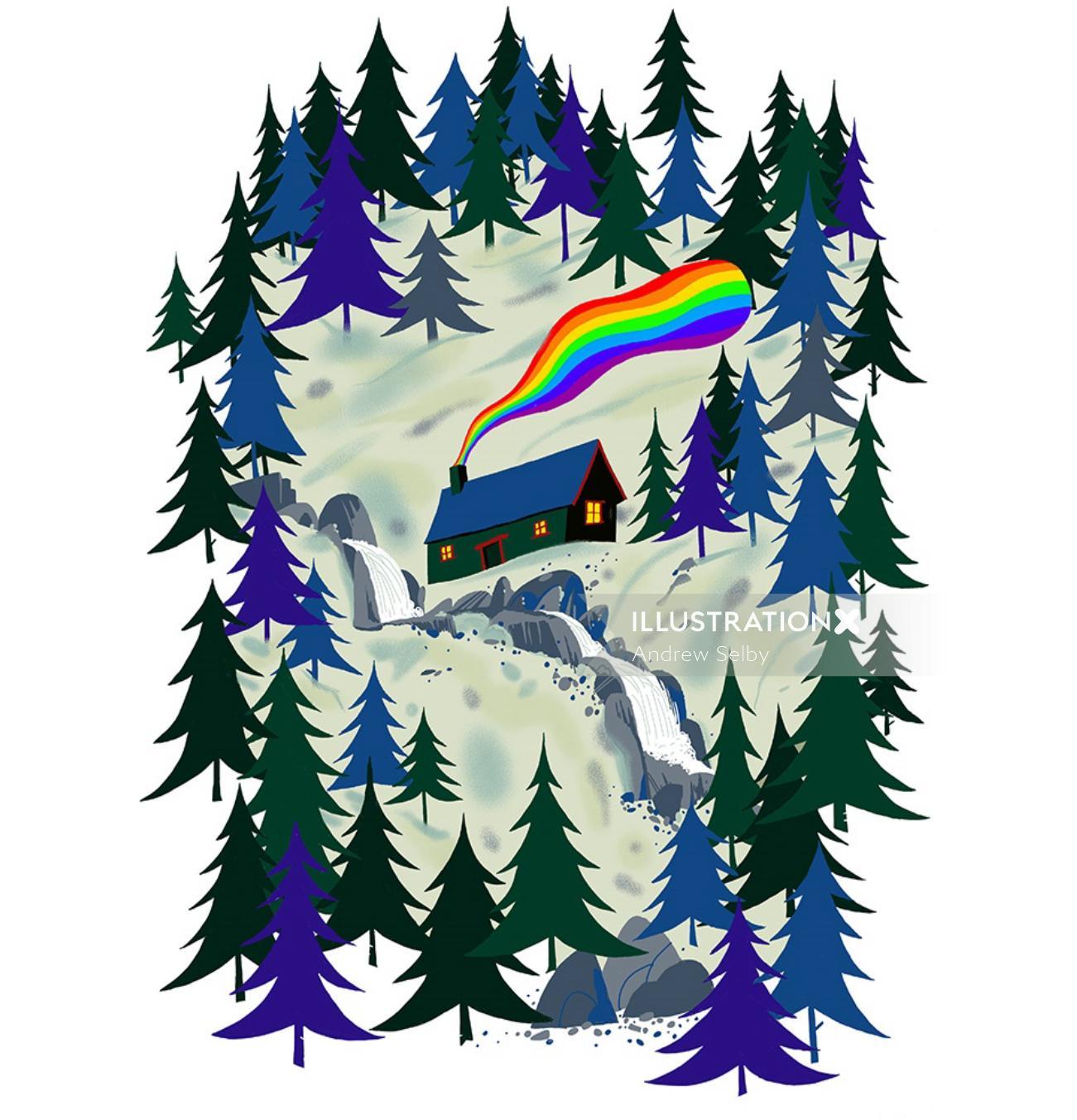 Rainbow smoke from snowy cottage