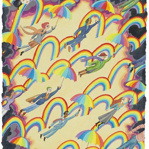 People flying in rainbow cloud