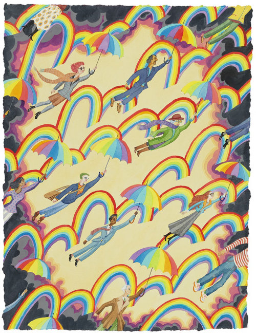 People flying in rainbow cloud