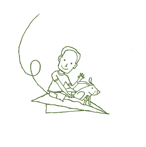 Line illustration - Boy on paper aircraft by Andrew Selby