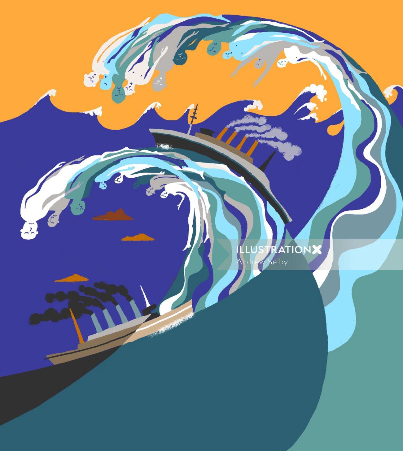 Ships stuck in big waves