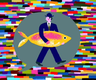 Imaginative style drawing of a man with fish