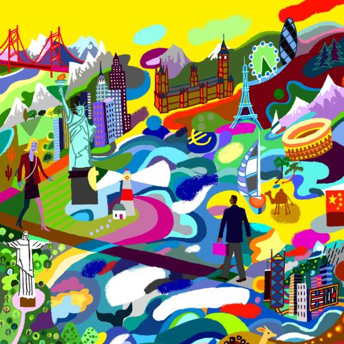 Colorful art of people and city