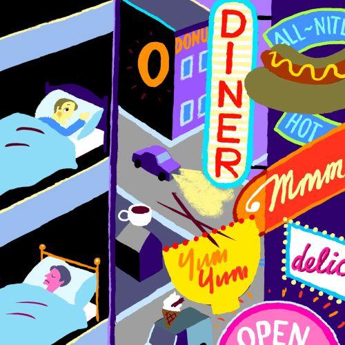 Illustration of 24 hour fast food