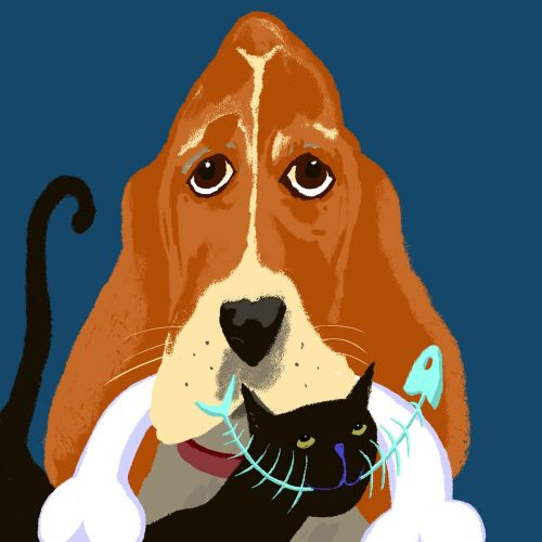 Illustration of Sad Dog Happy cat