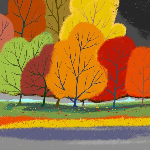 Painting of Autumn Fall