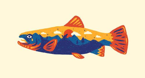 Peixes gráficos da natureza
