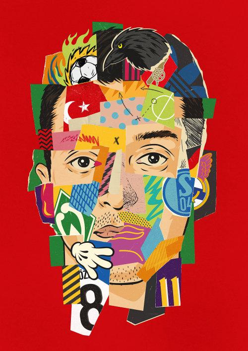 Bandeiras de arte em papel no rosto do homem