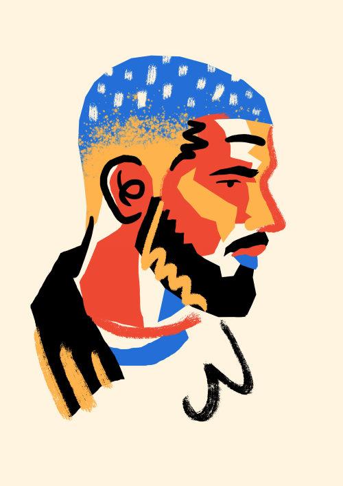 Arte de rua e rosto de homem mural