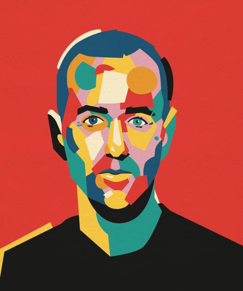 Retrato gráfico de homem colorido