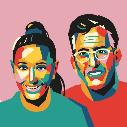 Graphic portrait of colorful couple