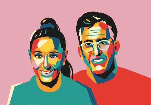 Retrato gráfico de casal colorido