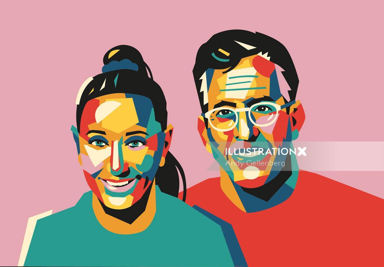 Graphic portrait of colorful couple