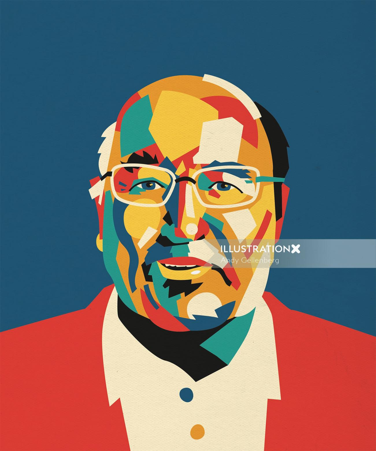 Graphic colorful portrait of old man