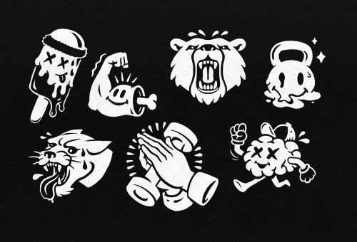 Ícones de categoria preto e branco