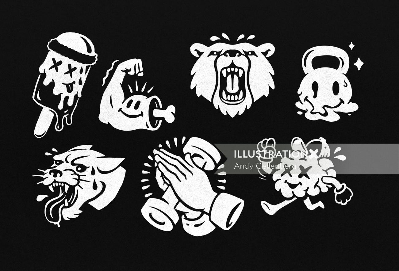 Black white category icons