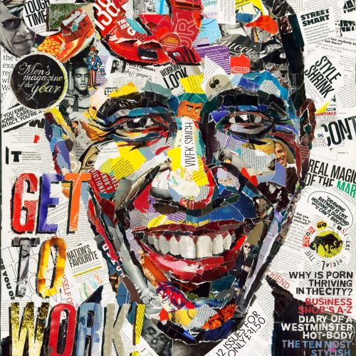 Paper art of Obama's portrait