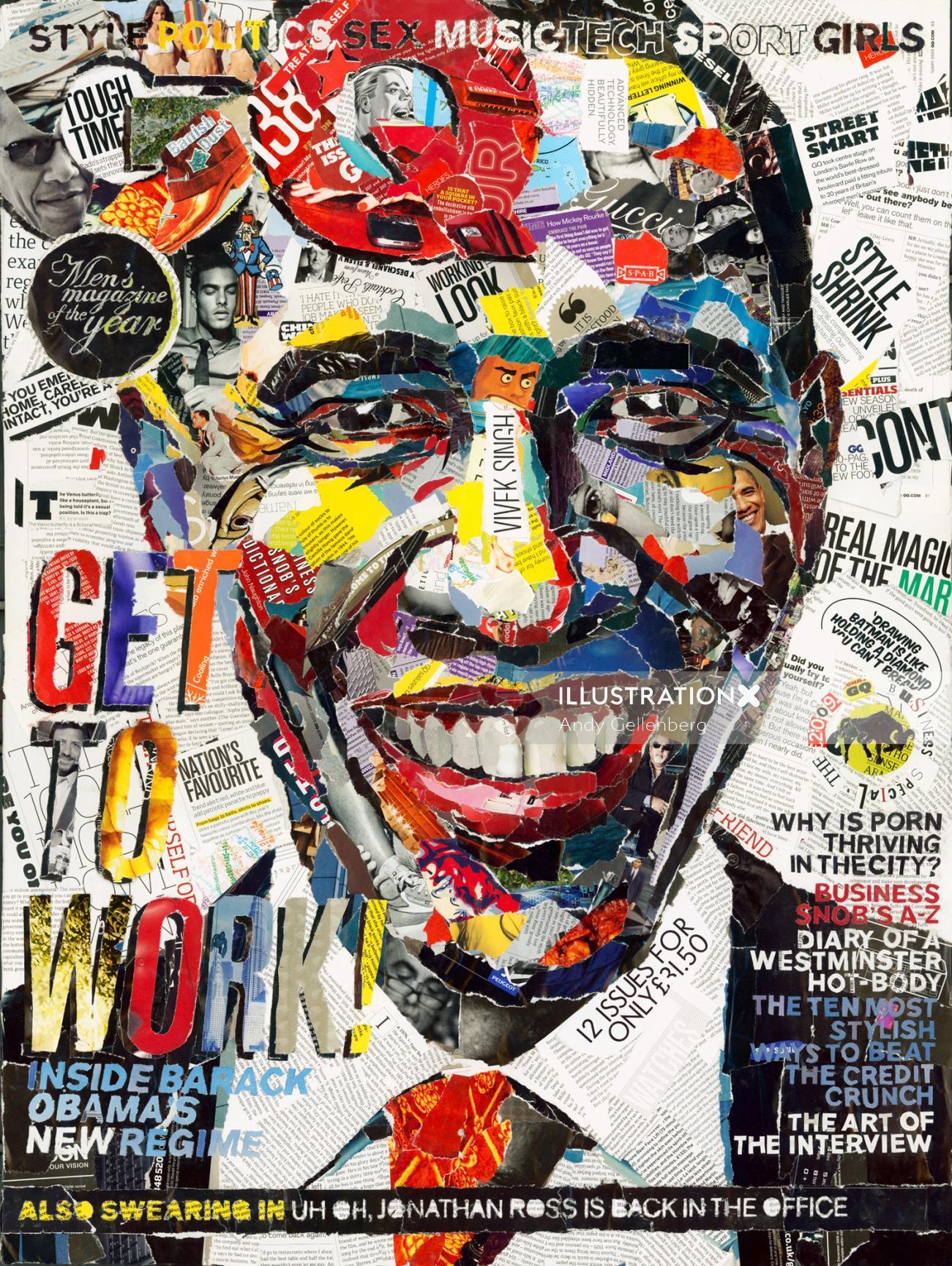 Paper art of Obama's portrait