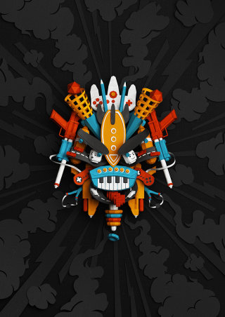 Colorful Design of game mask by Andy Gellenberg