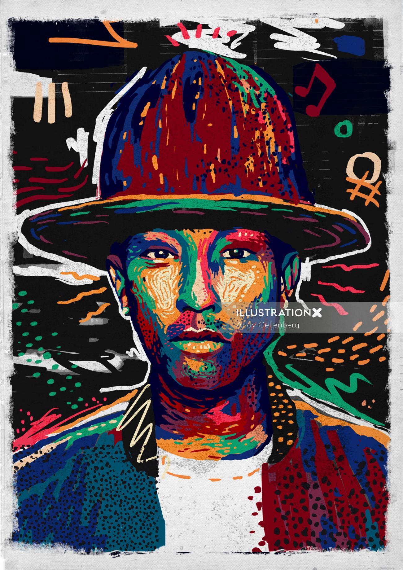 Pop portraits man with hat