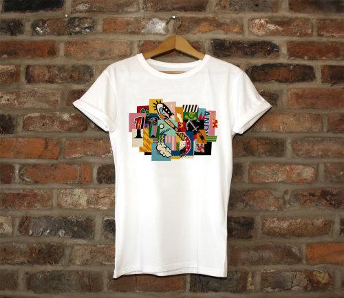Colagem gráfica na camiseta