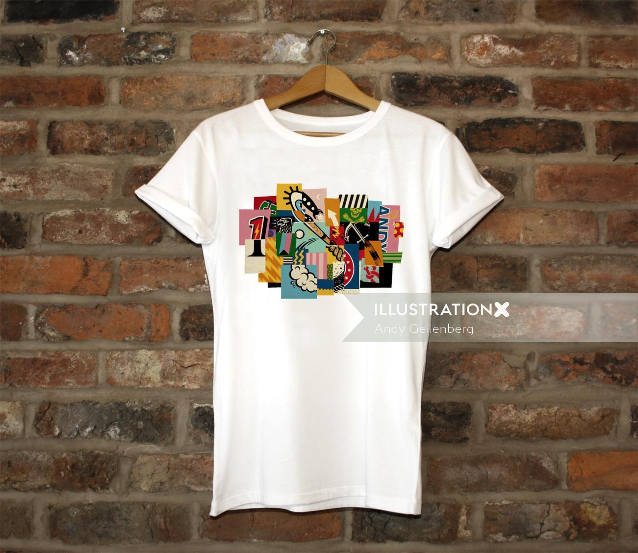 Graphic collage on tshirt