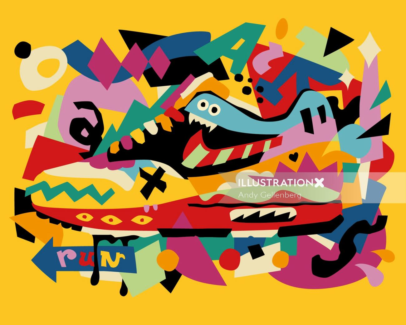 Graphic illustration alphabets