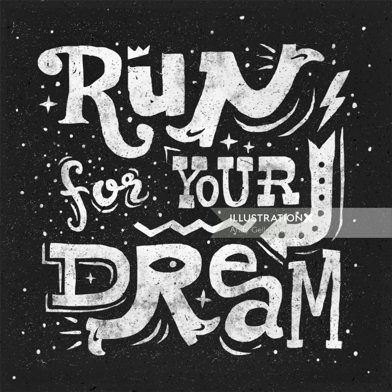 Lettering Run fr you dream