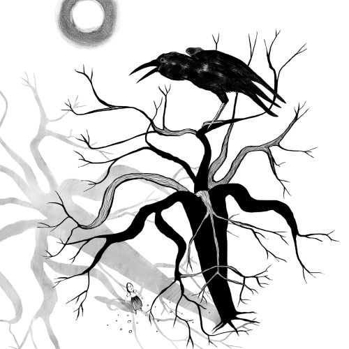 Black and white illustration of frozen crow