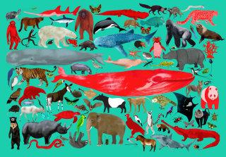 Endangered animals illustration