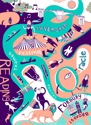 """Illustrated postcard design for Deliveroo around Reading. """