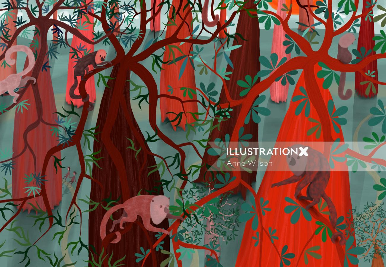 monkey climbing in a tree in the forest canopy
