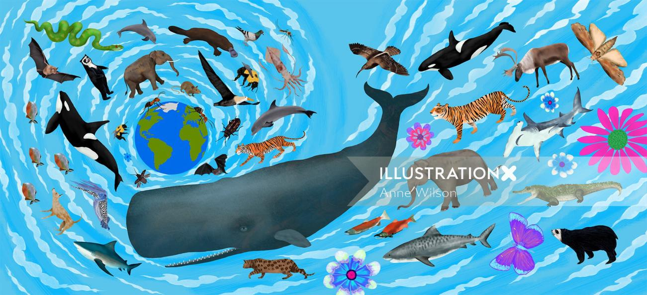 animals, elephant, tiger, bear, whale, killer whale, shark, bat, snake, crocodile, moth, cat, deer