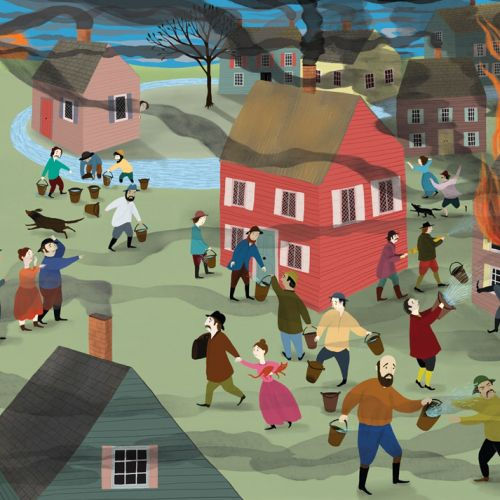 people, history, fire fighting, town, escape