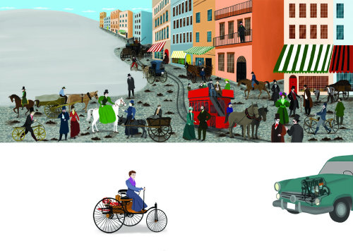 cars, horses, people, city, inventions