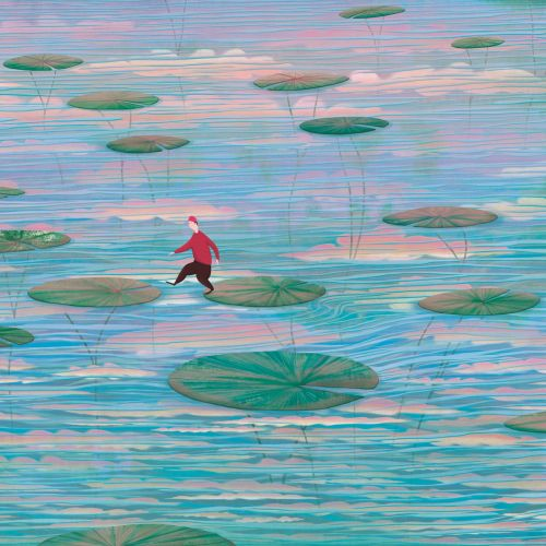 Lilly pads, sky, water,  reflection, hopping, small figure, lake, pond, clouds, peaceful