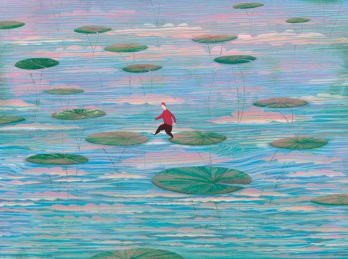Lilly pads, céu, água, reflexo, salto, figura pequena, lago, lagoa, nuvens, pacífico