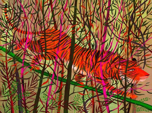 tigre, folhas, galhos, árvores, selva, camuflagem