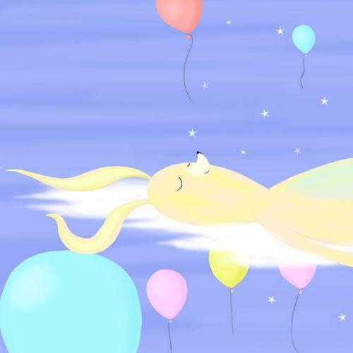 calm, bunny, clouds, sleeping