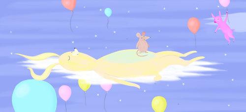 calma, coelho, nuvens, dormindo