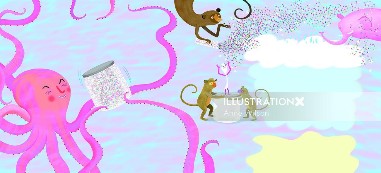 glitter, octopus, monkey