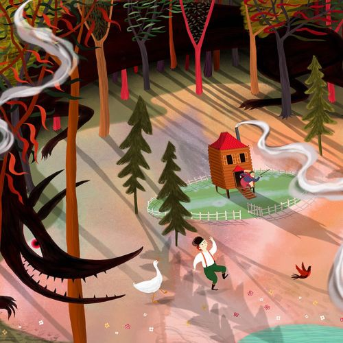Peter and the Wolf, forest, woods, duck, bird, wolf, fairytale